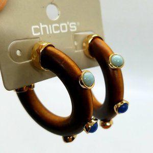 Chico's Wooden Open Hoop Earrings With Stones